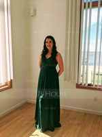 V-neck Floor-Length Chiffon Prom Dresses (272214493)