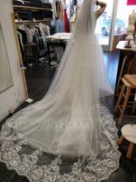 One-tier Lace Applique Edge Cathedral Bridal Veils With Applique (006125296)