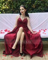 Burgundy V-Neck Sleeveless Maxi Dresses (293250300)