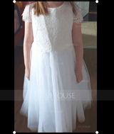 A-Line Tea-length Flower Girl Dress - Tulle/Lace Sleeveless Scoop Neck (010164718)