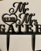 "Personalized ""Mr. & Mrs.""/Name And Date Acrylic/Wooden Cake Topper (118251125)"