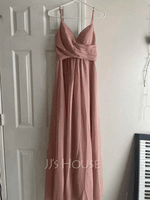 A-Line V-neck Floor-Length Chiffon Bridesmaid Dress With Ruffle (266257249)