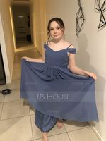 A-Line Off-the-Shoulder Floor-Length Chiffon Junior Bridesmaid Dress With Ruffle (009087895)