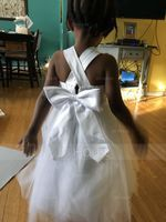 Ball Gown Tea-length Flower Girl Dress - Satin/Tulle/Lace Sleeveless Straps With Bow(s) (010094098)