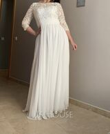 A-Line Scoop Neck Floor-Length Chiffon Lace Mother of the Bride Dress With Ruffle Beading Sequins (008179200)