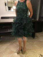 Ball-Gown/Princess Scoop Neck Short/Mini Tulle Prom Dresses With Sequins (018229953)