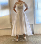 Scoop Neck Asymmetrical Chiffon Wedding Dress With Beading Sequins (265255614)