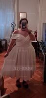 A-Line Off-the-Shoulder Tea-Length Satin Wedding Dress With Pockets (002234907)
