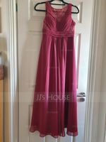 Scoop Neck Floor-Length Chiffon Lace Bridesmaid Dress With Ruffle (266209052)