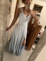 A-Line Sweetheart Floor-Length Chiffon Lace Bridesmaid Dress With Beading Split Front (007190694)