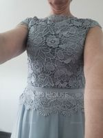 A-Line Scoop Neck Ankle-Length Chiffon Lace Mother of the Bride Dress With Cascading Ruffles (008179223)