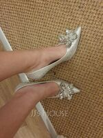 Women's Leatherette Stiletto Heel Closed Toe Pumps With Rhinestone Crystal (047064120)