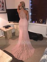Trumpet/Mermaid High Neck Sweep Train Chiffon Lace Bridesmaid Dress (266253079)