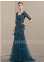 Trumpet/Mermaid V-neck Sweep Train Tulle Lace Mother of the Bride Dress With Beading Sequins (008152160)