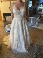 Ball-Gown/Princess V-neck Court Train Tulle Lace Wedding Dress With Beading Pockets (002215663)