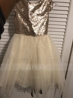 A-Line/Princess Knee-length Flower Girl Dress - Tulle/Sequined Sleeveless Scoop Neck With Sash (010090333)