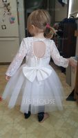 A-Line/Princess Knee-length Flower Girl Dress - Satin/Tulle/Lace Long Sleeves Scoop Neck With Beading/Bow(s)/Rhinestone/Back Hole (010094113)