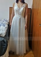 A-Line V-neck Floor-Length Tulle Wedding Dress With Beading (002171925)