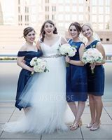 Off-the-Shoulder Knee-Length Satin Bridesmaid Dress (266213319)