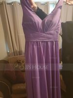 A-Line V-neck Floor-Length Chiffon Bridesmaid Dress With Ruffle (007233667)