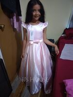 Scoop Neck Floor-Length Satin Lace Junior Bridesmaid Dress With Bow(s) Pockets (268261568)