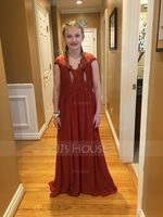 A-Line V-neck Floor-Length Chiffon Junior Bridesmaid Dress (009130661)