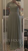 Scoop Neck Floor-Length Chiffon Lace Bridesmaid Dress With Split Front (266230863)