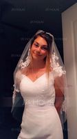 One-tier Cut Edge Fingertip Bridal Veils (006146873)