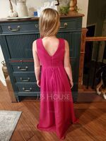 A-Line V-neck Floor-Length Chiffon Junior Bridesmaid Dress With Ruffle (009191696)