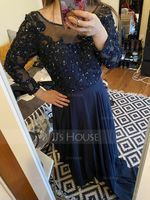 Scoop Neck Floor-Length Chiffon Mother of the Bride Dress With Beading Sequins (267196461)