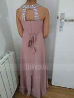 Scoop Neck Floor-Length Chiffon Junior Bridesmaid Dress With Beading Bow(s) (268203322)