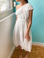A-Line One-Shoulder Asymmetrical Chiffon Lace Junior Bridesmaid Dress With Bow(s) (009208603)