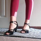 Women's Patent Leather Suede Heels Sandals Latin With Ankle Strap Dance Shoes (053071140)
