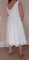 Empire V-neck Knee-Length Chiffon Bridesmaid Dress With Cascading Ruffles (266187514)