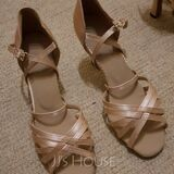 Women's Satin Heels Sandals Latin With Ankle Strap Dance Shoes (053090354)