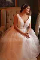 A-Line/Princess V-neck Sweep Train Tulle Wedding Dress With Ruffle Beading Sequins (002153445)