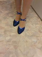 Women's Sparkling Glitter Heels Pumps Ballroom With Ankle Strap Dance Shoes (053108840)
