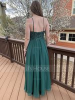 A-Line V-neck Floor-Length Chiffon Evening Dress With Lace Sequins Split Front (271254783)
