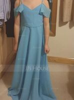A-Line V-neck Floor-Length Chiffon Junior Bridesmaid Dress (009208582)