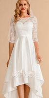 Scoop Neck Asymmetrical Satin Lace Wedding Dress (265234657)