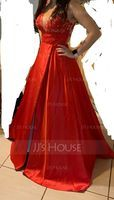 A-Line V-neck Sweep Train Satin Prom Dresses With Sequins Split Front (018224380)