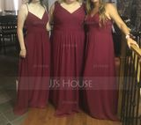 V-neck Floor-Length Chiffon Bridesmaid Dress (266213337)