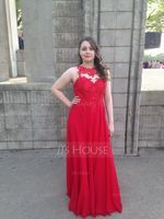 A-Line/Princess Scoop Neck Floor-Length Chiffon Prom Dresses (018138542)