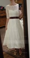 Ball-Gown Sweetheart Tea-Length Satin Wedding Dress With Pockets (002071568)