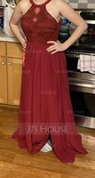 Scoop Neck Floor-Length Chiffon Lace Bridesmaid Dress With Split Front (266230538)