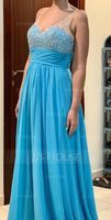 V-neck Floor-Length Chiffon Prom Dresses With Sequins (272236060)
