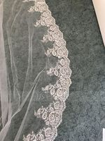 One-tier Lace Applique Edge Cathedral Bridal Veils With Lace (006147433)