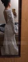Trumpet/Mermaid V-neck Sweep Train Lace Wedding Dress (002127261)