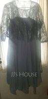 Scoop Neck Tea-Length Chiffon Lace Mother of the Bride Dress With Bow(s) (267235668)