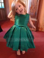 Knee-length Flower Girl Dress - Satin Sleeveless Scoop Neck With Ruffles (269193570)